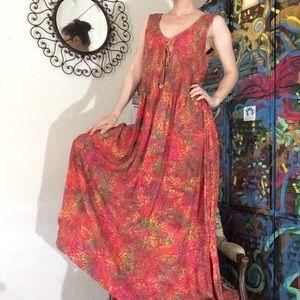 Vintage Dresses - Bali Batik Hand Printed Tye Dye Vacation Dress